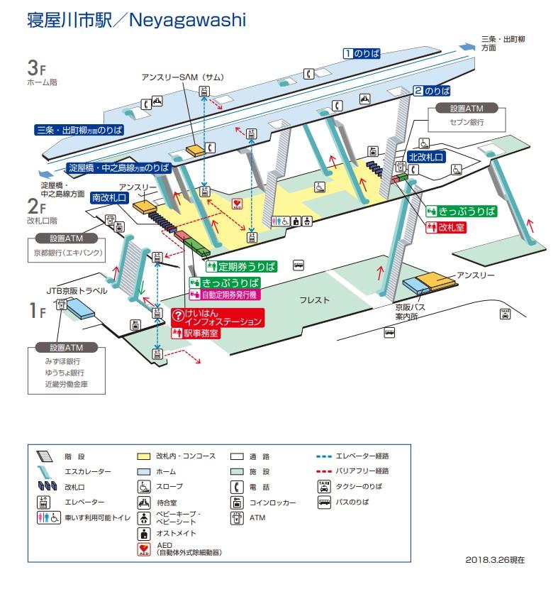 寝屋川市駅 構内図