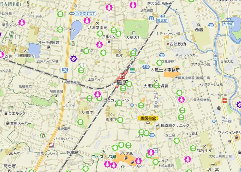 鳳駅周辺の犯罪発生マップ