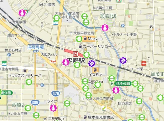 JR平野駅周辺の犯罪発生マップ