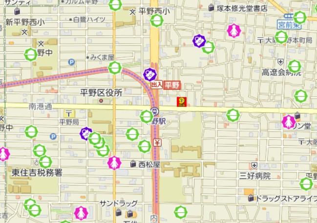 谷町線平野駅周辺の犯罪発生マップ