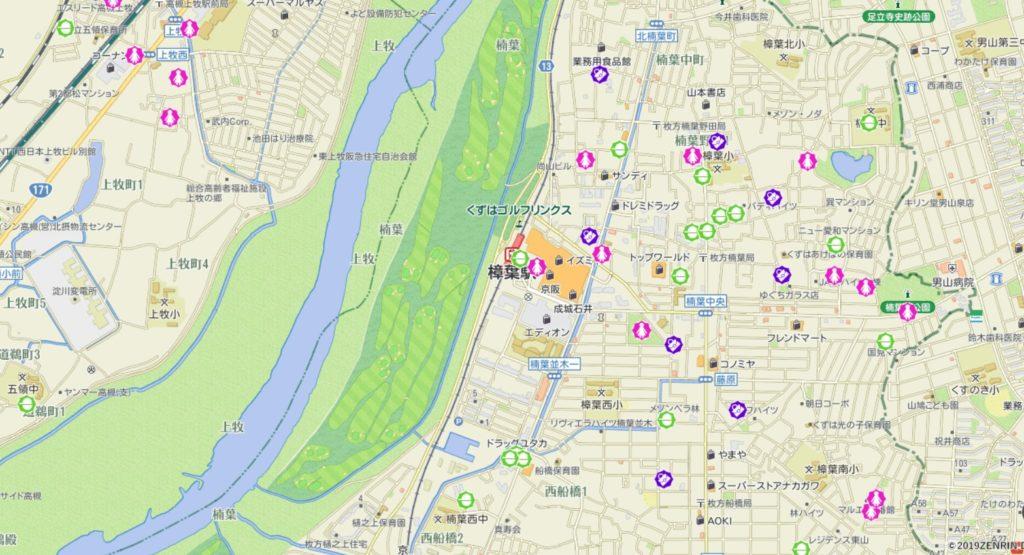 樟葉駅周辺の犯罪発生マップ