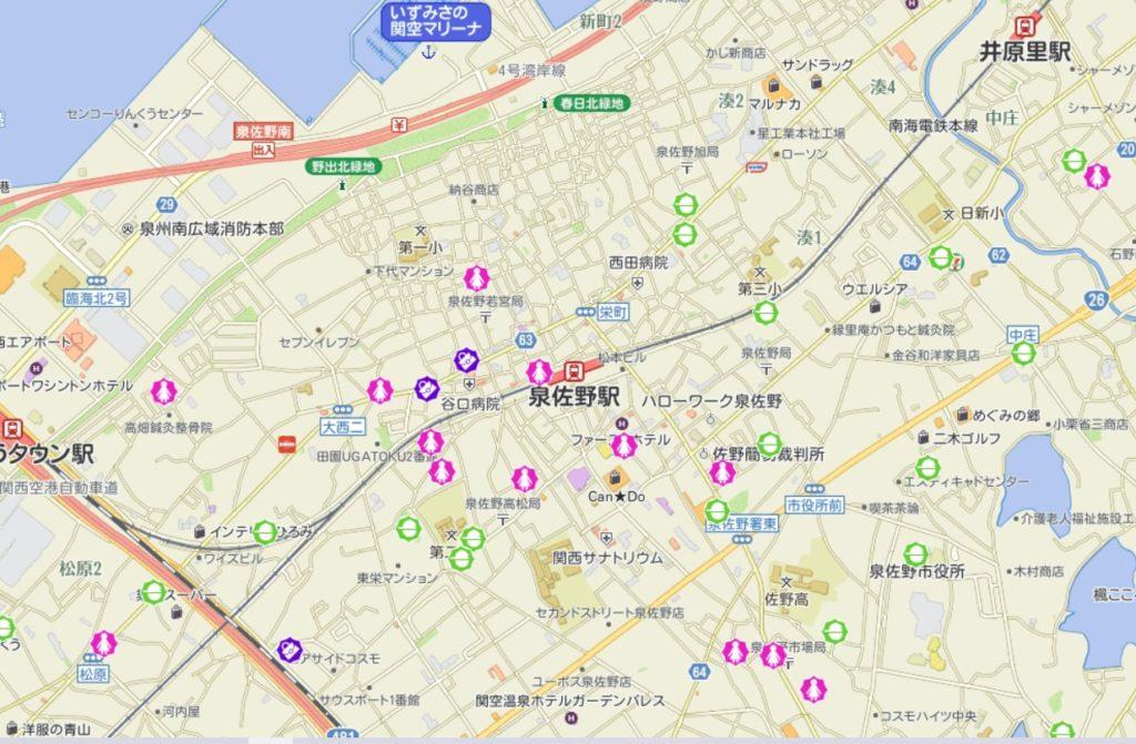 泉佐野駅周辺犯罪発生マップ