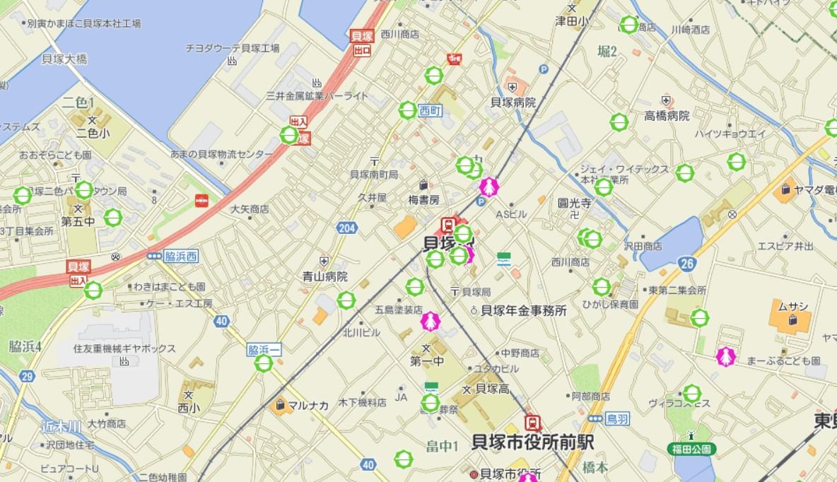 貝塚駅周辺犯罪発生マップ